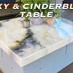 Easy Cinderblock and Epoxy Patio Table / Epoxy Resin Countertop pour // Concrete Table