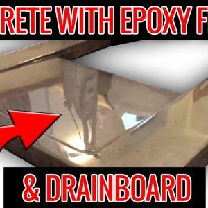 Concrete Countertops with Integrated Drainboard & Epoxy Finish