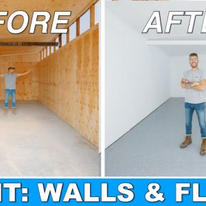 DIY SHED TO WORKSHOP TRANSFORMATION | PAINTING PLYWOOD WALLS & CONCRETE EPOXY | MODERN BUILDS EP. 2